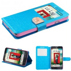 LG Optimus L70 Blue Embossed Book-Style Wallet with Window