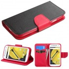 Motorola Moto E 2nd Gen Black Pattern/Red Liner Wallet with Card Slot