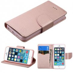 Apple iPhone 5/5s Rose Gold Pattern/Rose Gold Liner wallet with Card Slot