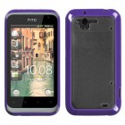 HTC Rhyme Transparent Clear/Solid Purple Gummy Cover