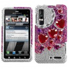 Motorola Droid 3 Stylish Hearts Diamante Phone Protector Cover