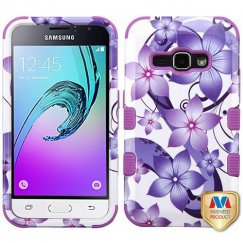 Samsung Galaxy J1 Purple Hibiscus Flower Romance/Electric Purple Hybrid Case