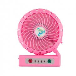 Pink Portable USB Rechargeable Fan with Phone Charging Function