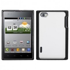 LG Intuition Transparent Clear/Solid Black Gummy Cover