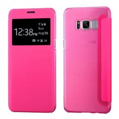 Samsung Galaxy S8 Plus Hot Pink Silk Texture with Transparent Frosted Tray