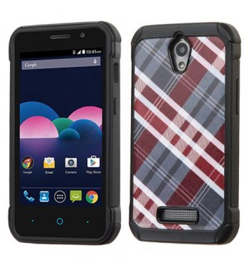 ZTE Obsidian Maroon/Gray Diagonal Plaid/Black Astronoot Phone Protector Cover