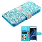Samsung Galaxy S7 Edge Baby Blue Mini Crystals with Silver Belt Wallet