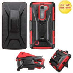 LG LS751 Volt 2 Black/Red Advanced Armor Stand Case with Black Holster