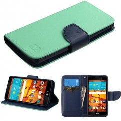 LG LS751 Volt 2 Teal Green Pattern/Dark Blue Liner wallet with Card Slot