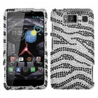 Motorola Droid RAZR HD Black Zebra Skin Diamante Case