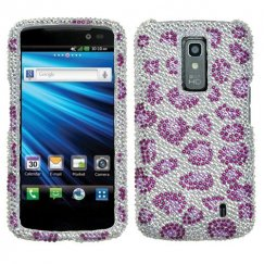 LG Nitro HD Leopard Skin/Purple Diamante Case