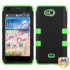 LG Spirit 4G Rubberized Black/Electric Green Hybrid Phone Protector Cover