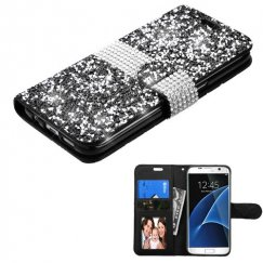 Samsung Galaxy S7 Edge Black Mini Crystals with Silver Belt Wallet