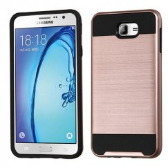 Samsung Galaxy On7 Rose Gold/Black Brushed Hybrid Case