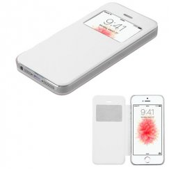 Apple iPhone 5s White Silk Texture Wallet with Transparent Frosted Tray
