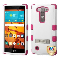 LG LS751 Volt 2 Natural Cream White/Hot Pink Hybrid Case with Stand