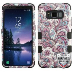 Samsung Galaxy S8 Active Purple European Flowers/Black Hybrid Case Military Grade