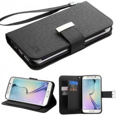 Samsung Galaxy S6 Edge Black D'Lux Wallet with Button Closure