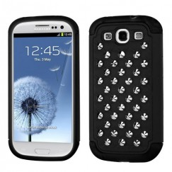Samsung Galaxy S3 Rubberized Black/Black Silver Studs Lattice Dazzling TotalDefense Case