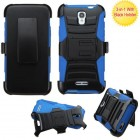 Alcatel One Touch Elevate Black/ Blue Advanced Armor Stand Protector Cover (With Black Holster)