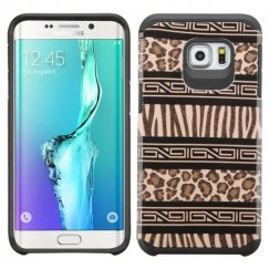 Samsung Galaxy S6 Edge Plus Zebra Skin-Leopard Skin/Black Advanced Armor Case