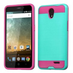 ZTE Avid Plus / Maven 2 Teal Green/Hot Pink Brushed Hybrid Case