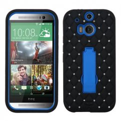 HTC One M8 Dark Blue/Black Symbiosis Stand Case with Diamonds