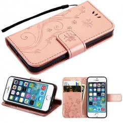 Apple iPhone 5s Rose Gold 3D Butterfly Flower Wallet(IM022) -NP