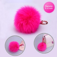 Cellphone Charm-Hot Pink White Fox Wool Ball (Diameter:5.12 inch)
