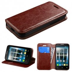 Alcatel One Touch Evolve 2 Brown Wallet with Tray