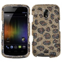Samsung Galaxy Nexus Leopard Skin/Camel Diamante Case