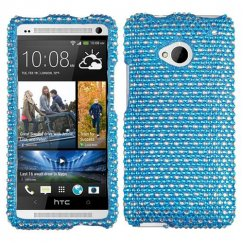 HTC One M7 Dots(Blue/white) Diamante Case