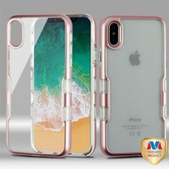 Apple iPhone X Metallic Rose Gold/Transparent Clear Panoview Hybrid Case