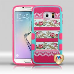 Samsung Galaxy S6 Edge Pink Damask Flower/Electric Pink Hybrid Case