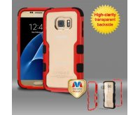 Samsung Galaxy S7 Natural Red Frame????? PC Back/Black TUFF Vivid Hybrid Protector Cover