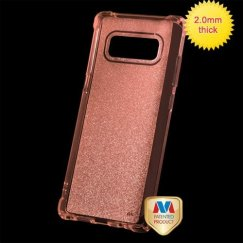 Samsung Galaxy Note 8 Transparent Rose Gold Sheer Glitter Premium Candy Skin Cover