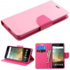 ZTE Avid Plus / Maven 2 Pink Pattern/Hot Pink Liner Wallet with Card Slot