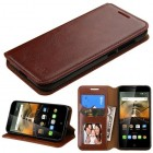 Alcatel One Touch Conquest Brown Wallet(with Tray)