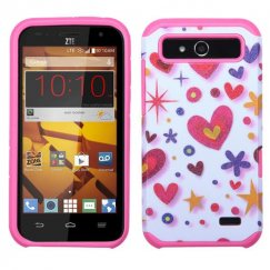 ZTE Speed Heart Graffiti(White)/Hot Pink Advanced Armor Case