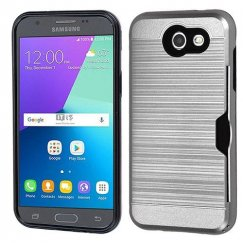 Samsung Galaxy J3 Silver/Black Brushed Hybrid Case with Card Wallet
