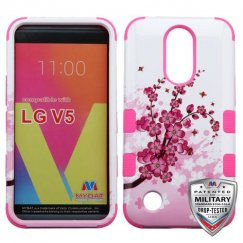 LG K10 Spring Flowers/Electric Pink Hybrid Case Military Grade