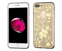 Apple iPhone 7 Plus Phoenix-tail Flowers Electroplating (Gold)/Transparent Clear Gummy Cover