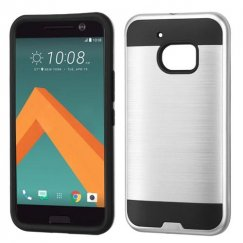 HTC 10 Silver/Black Brushed Hybrid Case