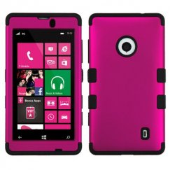 Nokia Lumia 521 Titanium Solid Hot Pink/Black Hybrid Case