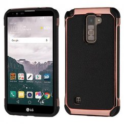LG LG G Stylo 2 Plus Black Lychee Grain Rose Gold Plating/Black Astronoot Case
