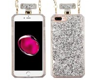Apple iPhone 7 Plus Silver Mini Crystals Diamante Perfume Bottle Candy Skin Cover with Chain