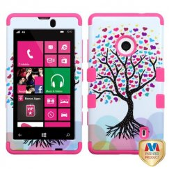 Nokia Lumia 521 Love Tree/Electric Pink Hybrid Case
