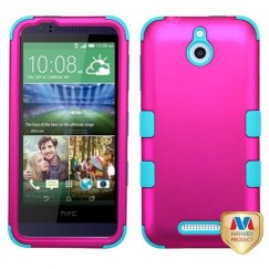 HTC Desire 510 Titanium Solid Hot Pink/Tropical Teal Hybrid Case