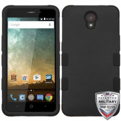 ZTE Prestige 2 Rubberized Black/Black Hybrid Case Military Grade