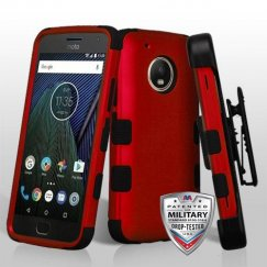 Motorola Moto G5 Plus Titanium Red/Black Hybrid Case Military Grade with Black Horizontal Holster